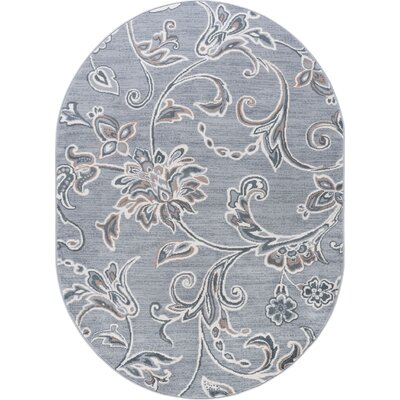 Majoros Floral Gray Area Rug Rug Size: Oval 5 x 8