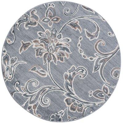 Majoros Floral Gray Area Rug Rug Size: Round 8