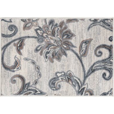 Majoros Floral Cream Area Rug Rug Size: Rectangle 5 x 7