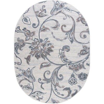 Majoros Floral Cream Area Rug Rug Size: Oval 5 x 8