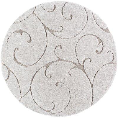 Edda Scrollwork Scatter Cream Area Rug Rug Size: Round 8