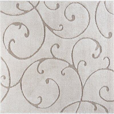 Edda Scrollwork Scatter Cream Area Rug Rug Size: Square 8