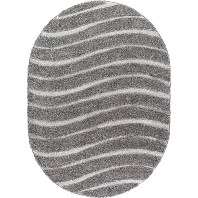 Nassauer Scrollwork Scatter Gray/Cream Area Rug Rug Size: Oval 5 x 8