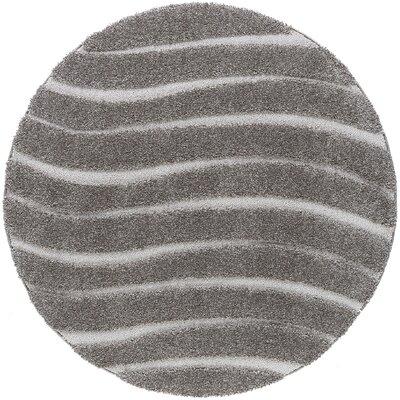 Nassauer Scrollwork Scatter Gray/Cream Area Rug Rug Size: Round 8