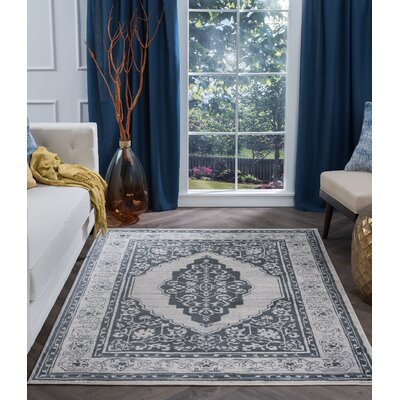 Dolphus Oriental Jute/Sisal Gray Area Rug Rug Size: Rectangle 5 x 7