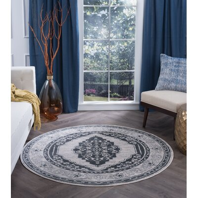 Dolphus Oriental Jute/Sisal Gray Area Rug Rug Size: Round 8'