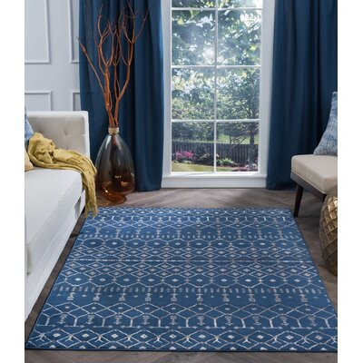 Topanga Oriental Navy Area Rug Rug Size: Rectangle 9 x 13