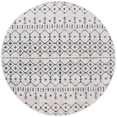 Topanga Oriental Cream Area Rug Rug Size: Round 8