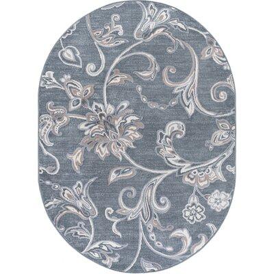 Dolphus Oriental Dark Gray Area Rug Rug Size: Oval 5 x 8