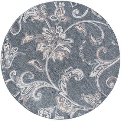 Dolphus Oriental Dark Gray Area Rug Rug Size: Round 6