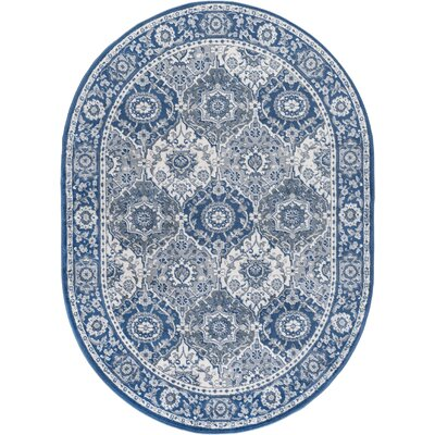 Dolphus Traditional Oriental Navy Area Rug Rug Size: Oval 5 x 8