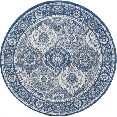 Dolphus Traditional Oriental Navy Area Rug Rug Size: Round 6