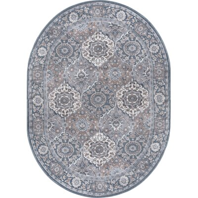 Dolphus Traditional Oriental Gray Area Rug Rug Size: Oval 5 x 8