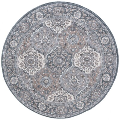 Dolphus Traditional Oriental Gray Area Rug Rug Size: Round 6