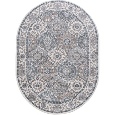 Dolphus Traditional Oriental Cream Area Rug Rug Size: Oval 5 x 8