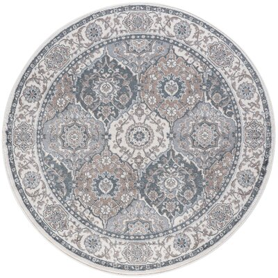 Dolphus Traditional Oriental Cream Area Rug Rug Size: Round 8