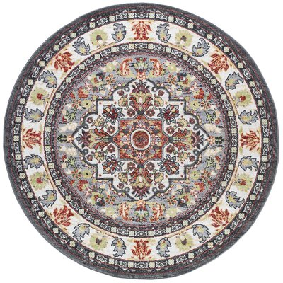 Tyshawn Oriental Gray/Brown Area Rug Rug Size: Round  53