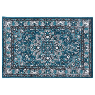 Tyshawn Oriental Blue Area Rug Rug Size: Rectangle 2' x 3'