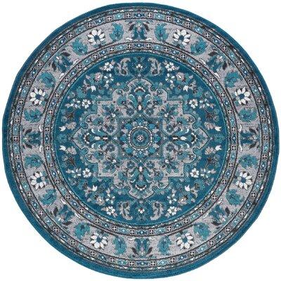 Tyshawn Oriental Blue Area Rug Rug Size: Round 6
