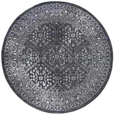 Tyshawn Modern Oriental Gray Area Rug Rug Size: Round 6