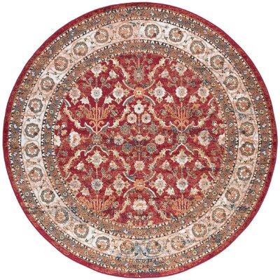 Tyshawn Oriental Red Area Rug Rug Size: Round 8