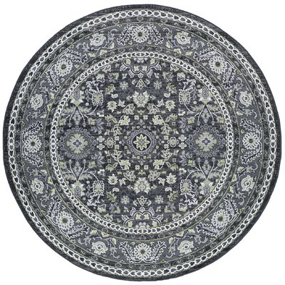 Tyshawn Oriental Gray Area Rug Rug Size: Round 6