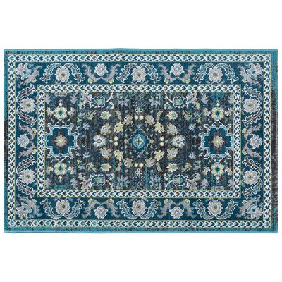 Tyshawn Oriental Aqua Area Rug Rug Size: Rectangle 5 x 8