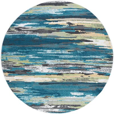 Romriell Oriental Blue Area Rug Rug Size: Round 6
