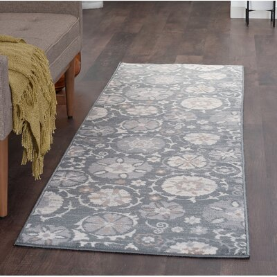 Majoros Oriental Scatter Navy/Gray Area Rug Rug Size: Runner 2 x 8