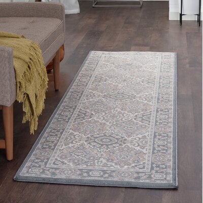 Dolphus Traditional Oriental Gray Area Rug Rug Size: Runner 2 x 8