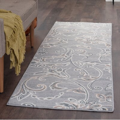 Majoros Floral Gray Area Rug Rug Size: Runner 2 x 8