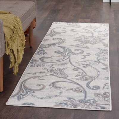 Majoros Floral Cream Area Rug Rug Size: Runner 2 x 8