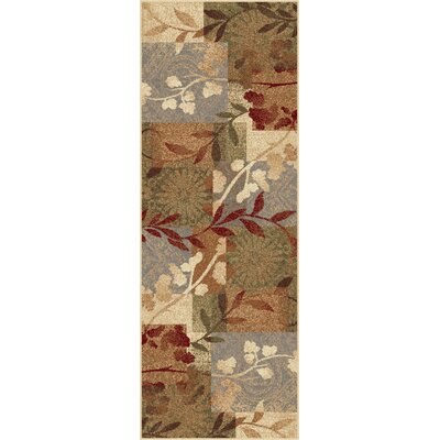 Impressions Blue Natural Collage Rug Rug Size: Runner 27 x 73