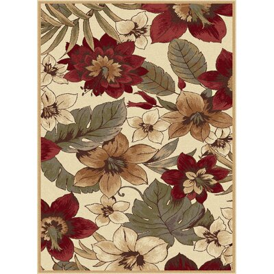 Lares Red/Beige Bold Blossoms Rug Rug Size: Rectangle 53 x 73