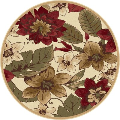 Lares Red/Beige Bold Blossoms Rug Rug Size: Round 53