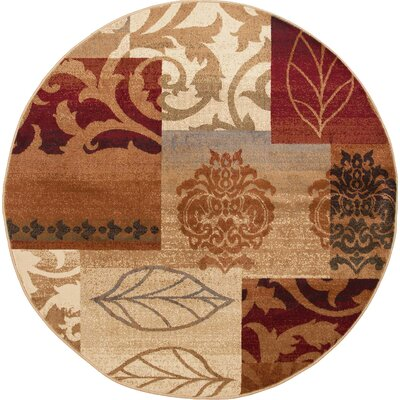 Impressions Red Multi Classic Collage Rug Rug Size: Round 53