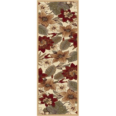 Lares Red/Beige Bold Blossoms Rug Rug Size: Runner 27 x 73