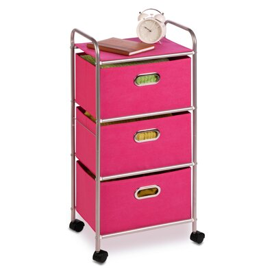 """Honey Can Do 35.5"""" 3 Drawer Rolling Cart - Color: Pink at Sears.com"""