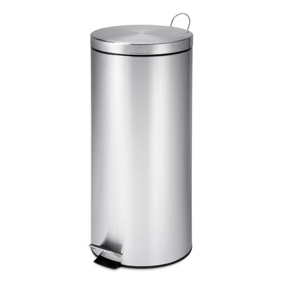 Furniture-Honey Can Do 7.9 Gallon Step On Stainless Steel Trash Can