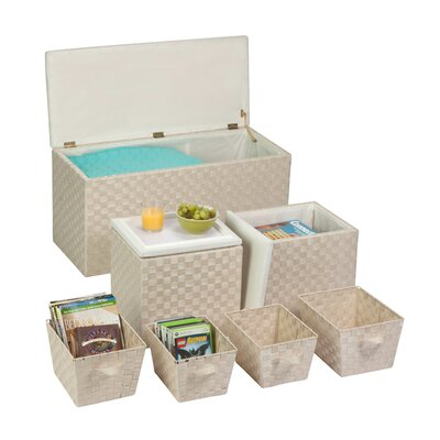 Storage Ottoman Set Finish: White
