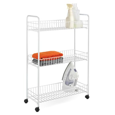 Three Tier Rolling Household Cart in White