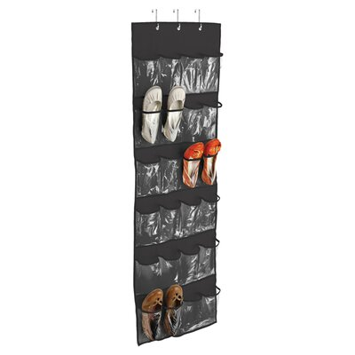 Honey Can Do 24 Pocket Over the Door Shoe Organizer I - Finish: Black (Set of 2)