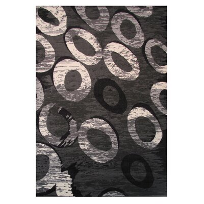 Gray/Black Area Rug Rug Size: 2 x 4