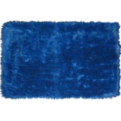 Flokati Dark Blue Area Rug Rug Size: 27 x 311