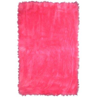 Flokati Hot Pink Area Rug Rug Size: 33 x 410