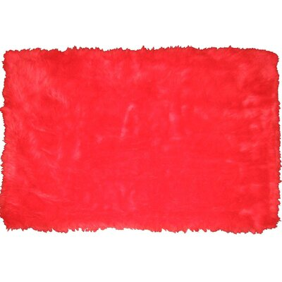Flokati Red Area Rug Rug Size: 27 x 311