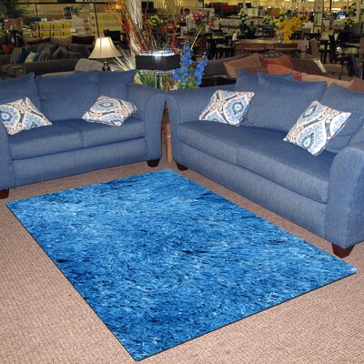 Silky Shag Light Blue Indoor Area Rug Rug Size: 39 x 58