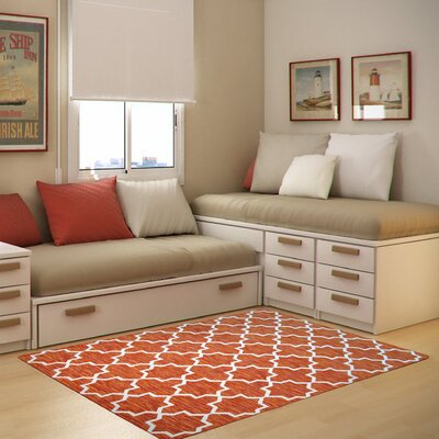 Botticelli Orange Area Rug Rug Size: 5 x 8