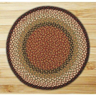 Braided Burgundy/Mustard Area Rug Rug Size: Round 4
