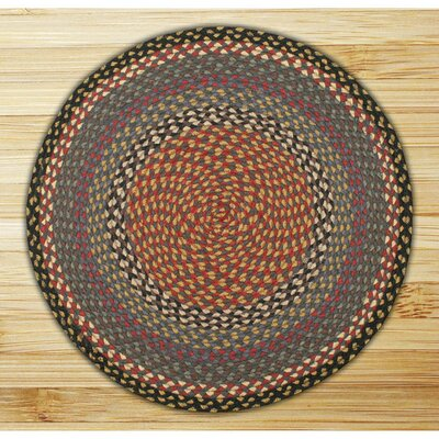 Braided Burgundy/Blue Area Rug Rug Size: Round 4